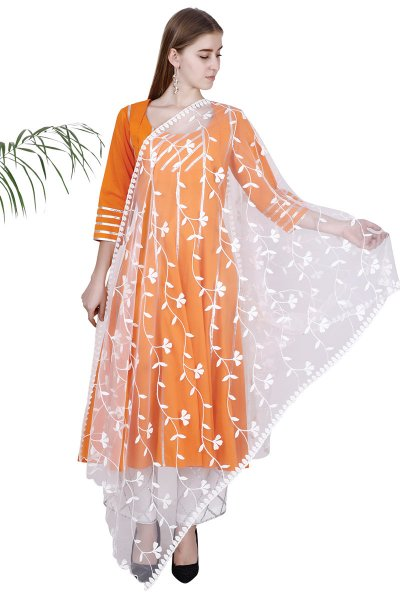 DS Orange Flare Latest Collection Kurti , Pajama , & Dupatta Set