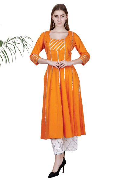 DS Beautiful Orange Flare Latest Collection Kurti