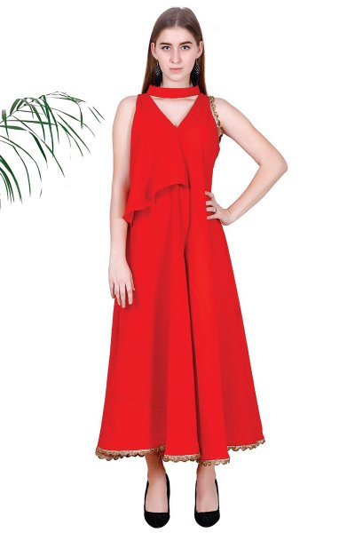 DS Red Solid Self Design Stylish Fit & Flare Dress