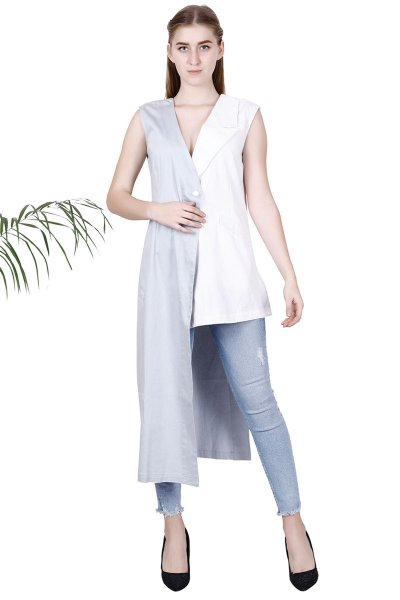 White and Grey New Modern Stylish Jacket For Women