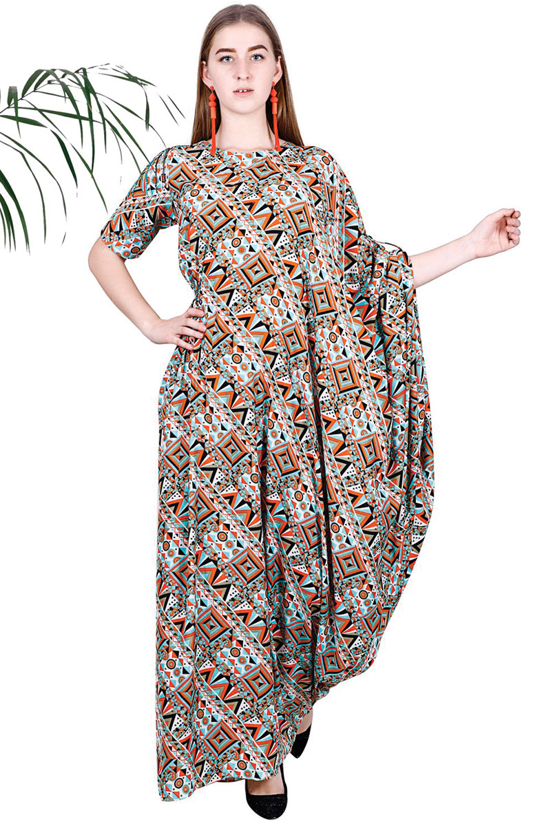 Green Orange Printed Fit and Drape Dress For Women