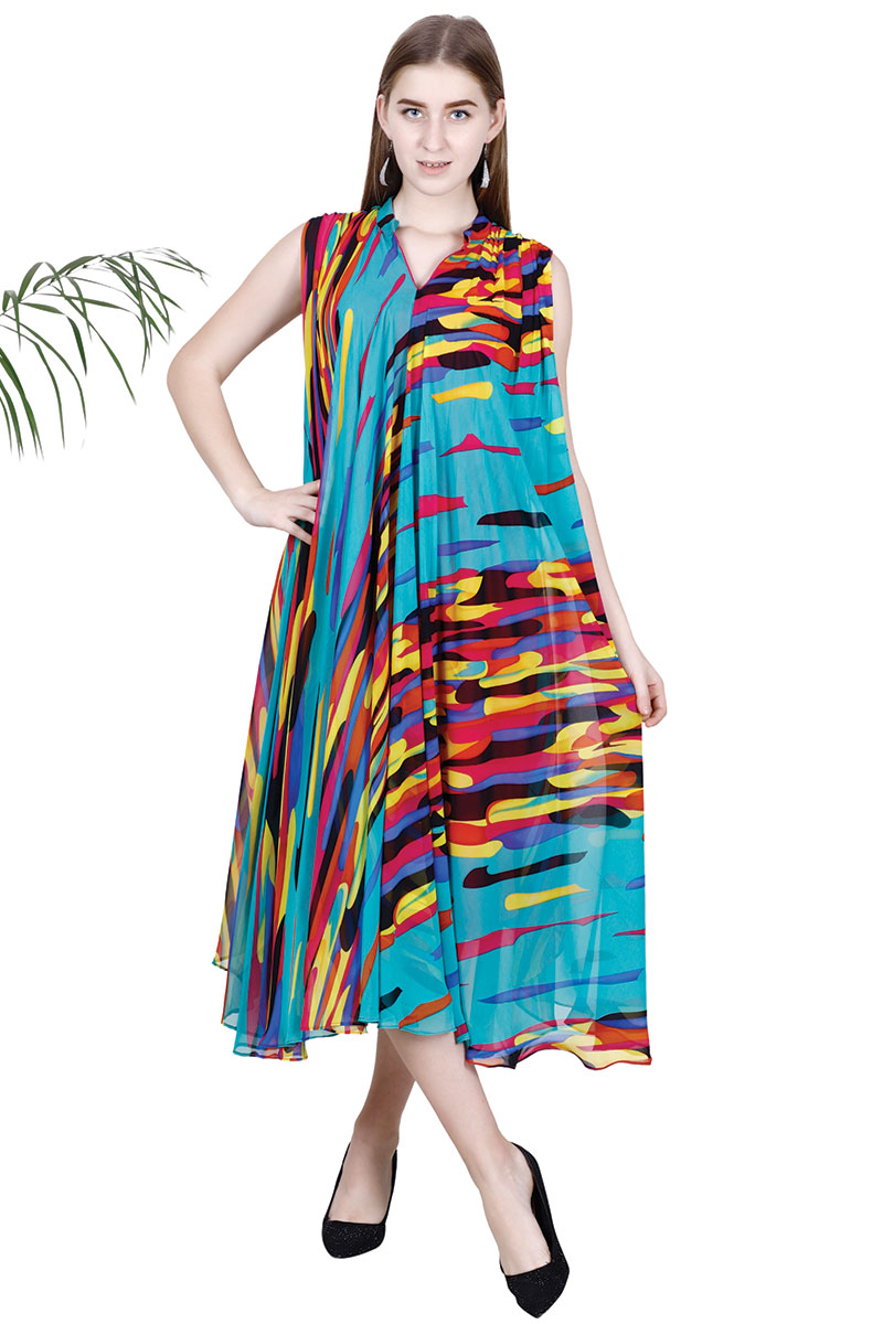 Multi Color Georgette Print New Collection Drape Dress