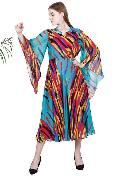 Multi Color Georgette Print New Design Drape Dress