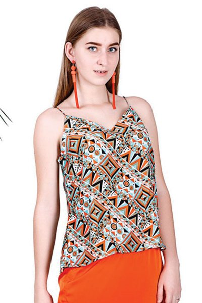BT Orange & Green Printed New Design Spaghetti Top