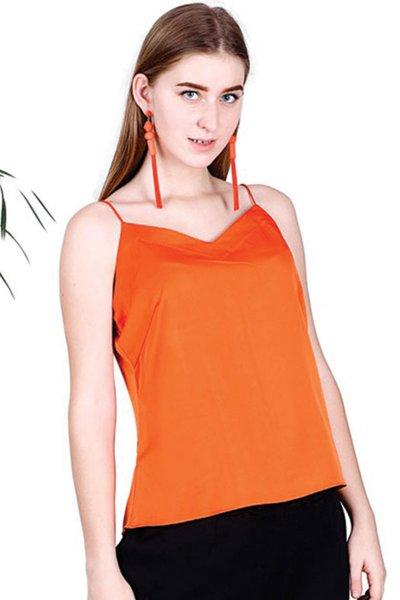 BT Orange Satin Fashionable Spaghetti Top