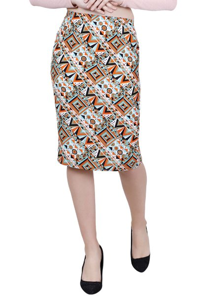 BT Green & Orange Coloured Printed Pencil Skirt