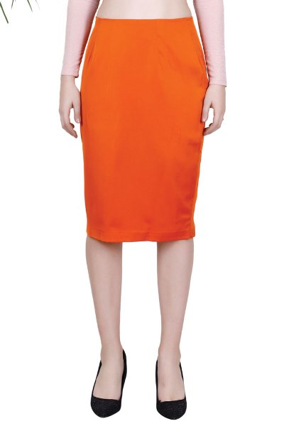 BT Orange Pencil Knee-Length Fancy Skirt