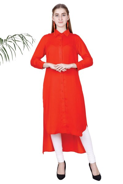 Red Satin Fashionable Long Shirt Type Dress