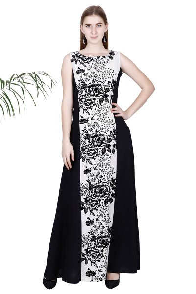 BT Black & White Printed New Style Long Dress