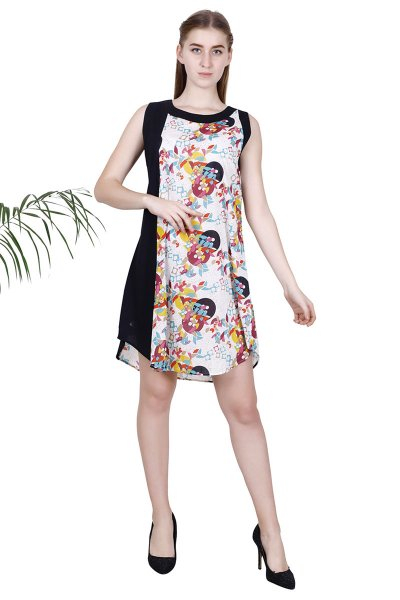 BT Black Cotton Pretty Design Floral Print Short Dress