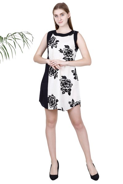 BT Black & White Floral Printed Stylish short Dress