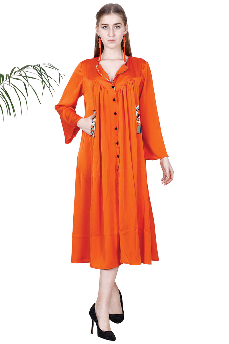 New Collection Orange Stylish Dress For Women