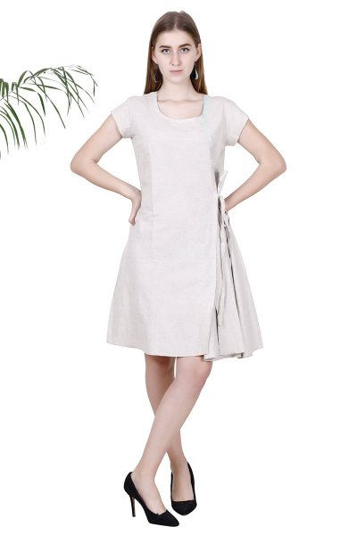 BT Beige Cotton Stylish Flared Dress