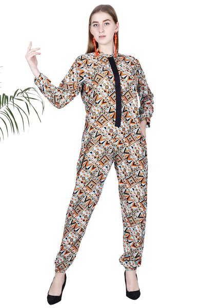 Green Orange Printed New Latest Long Jumpsuit For Women
