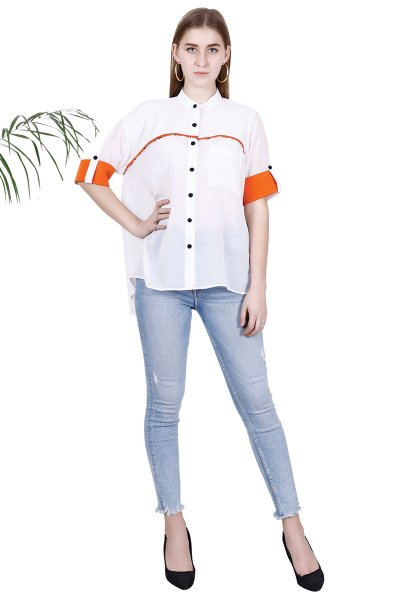 BT White Georgette  Solid Self Design Attractive Shirt