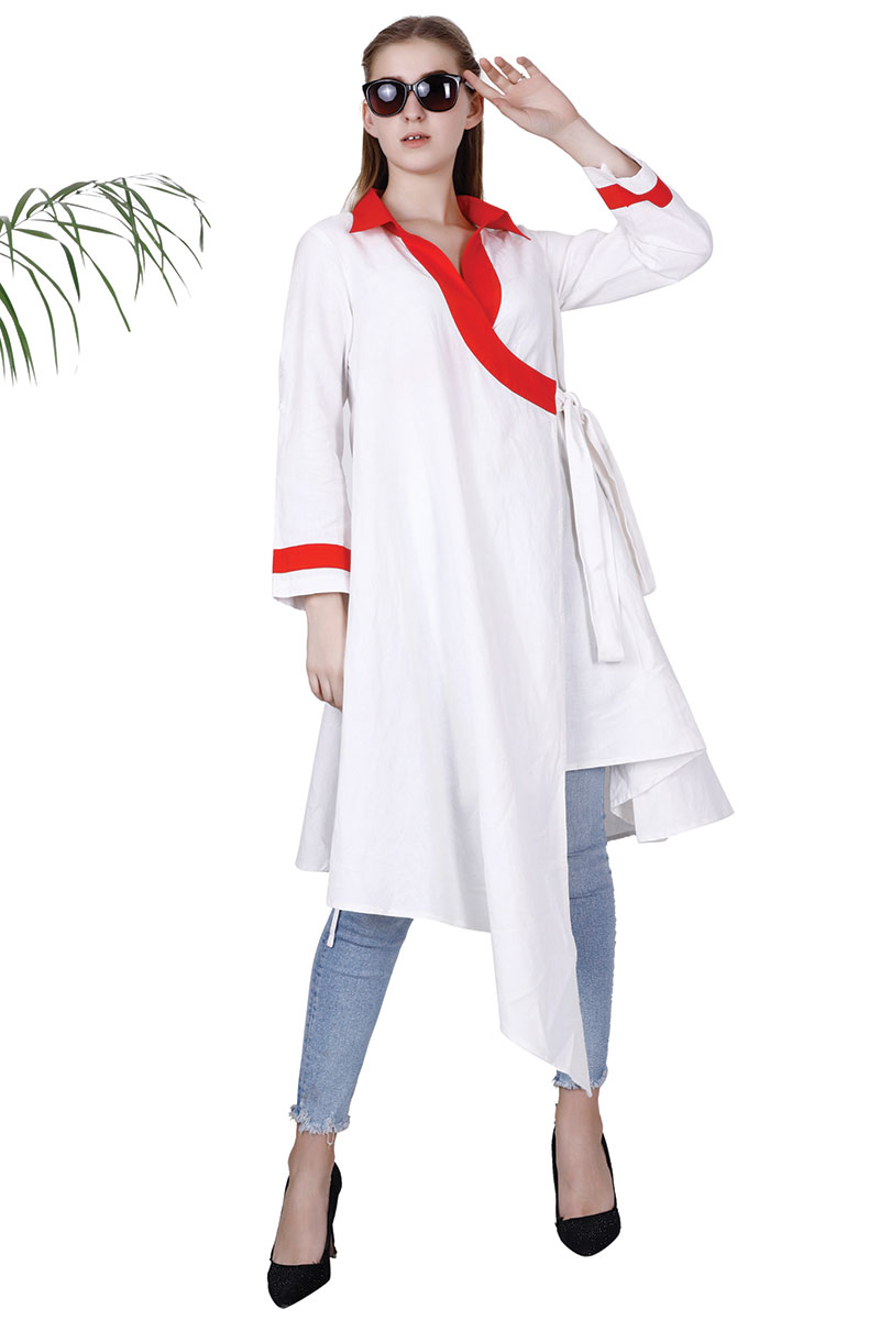 BT White Cotton Trendy Stylish Asymmetric Jacket