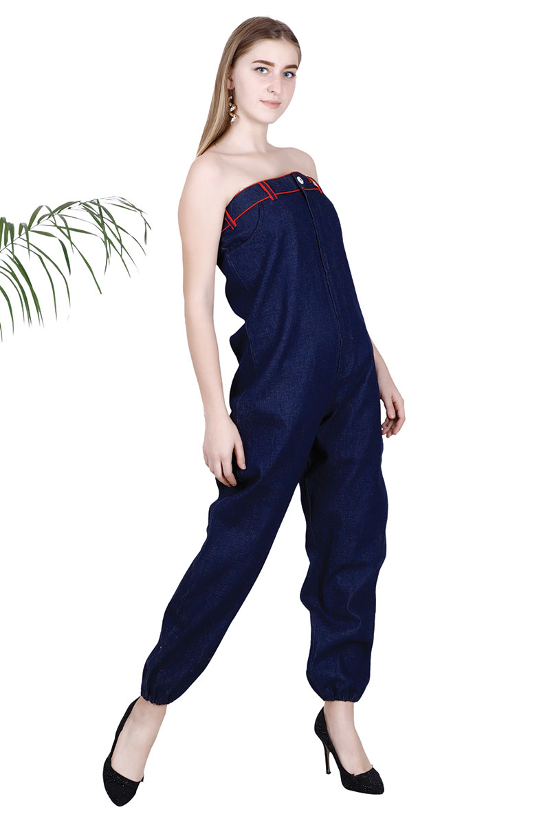 DS Blue Solid Off - Shoulder Stylish Basic Jumsuit