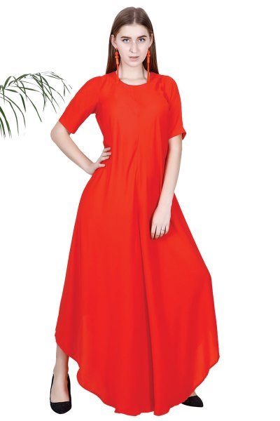 DS Red Solid Fashionable Fit & Flare Dress