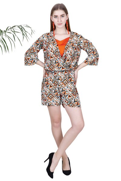 Green Orange Printed Stylish Jumpsuit For Women