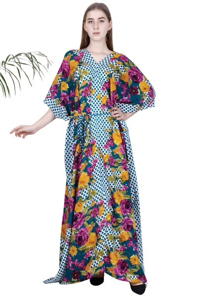 BT Multicoloured Printed Fashionable Kaftan Dress