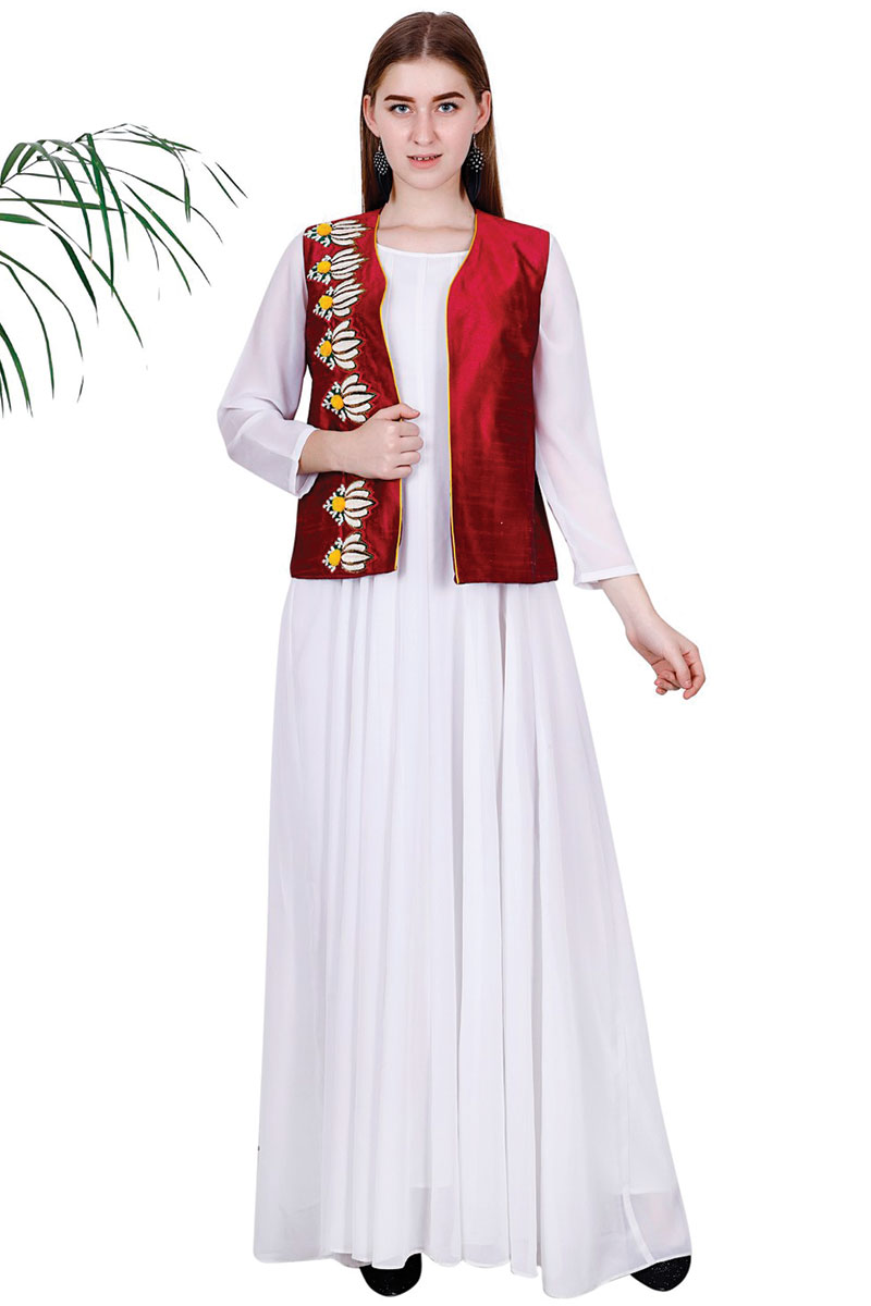 DS White Georgette Fit & Flare Kurta
