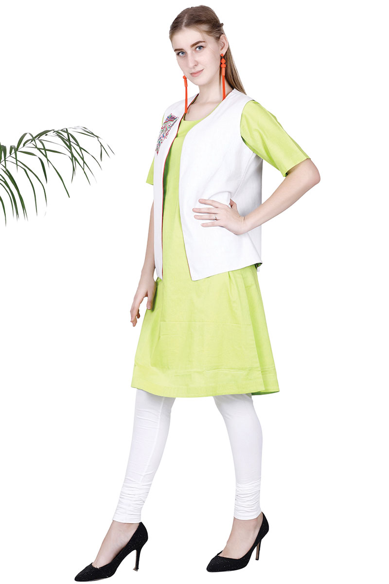 DS Solid Green Stylish Kurta With Jacket Set