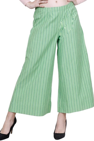 DS Green & White Striped Flared Palazzos