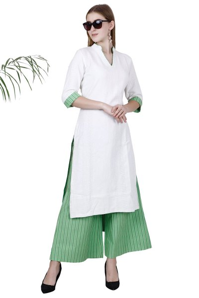 White Green Straight Stylish Kurta With Palazzo Set