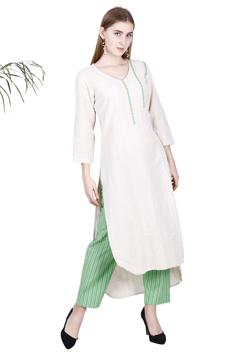 BT Beige Solid Straight Design Kurta With Pant Set