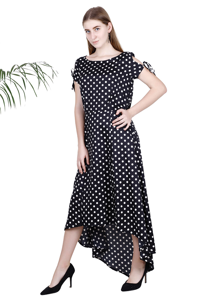 Black Polka Dot Fit and Flare Dress For Women