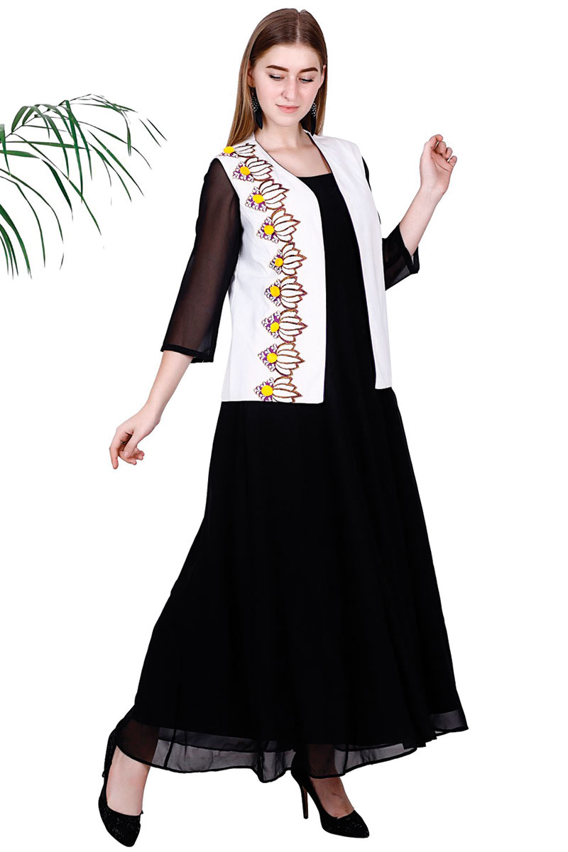 DS Black Georgette Fit & Flare Kurta With Jacket