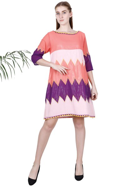BT Pink & Blue A-Line Simplistic design Panelled Dress