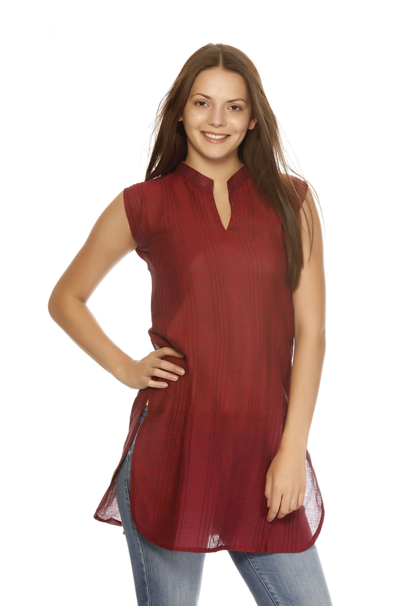 DS Maroon Cotton Simple and Stylish Kurti