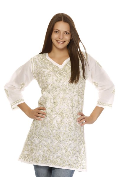 DS White Cotton Simple and Fashionable Kurti