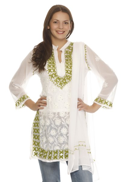 DS White & Green Georgette Printed Trendy Kurti