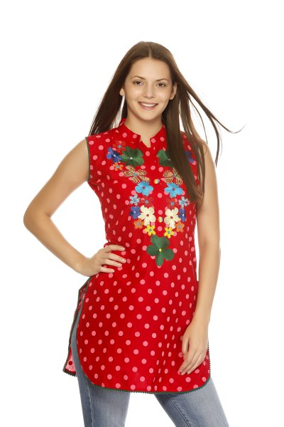 DS Fashionable Red Polka Print Kurti