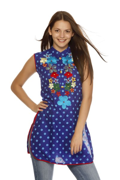 DS Fashionable Blue Polka Print Kurti