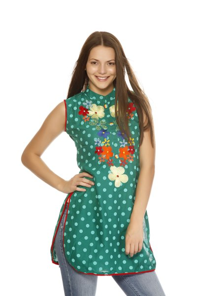 DS Attractive Green Polka Print Kurti