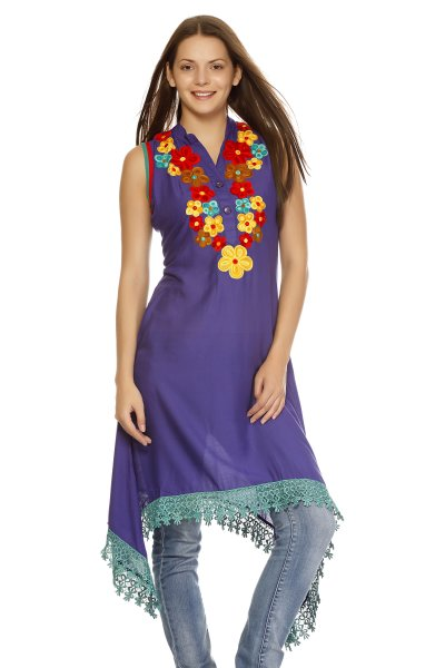 DS Stylish Purple Cotton High Low Kurti