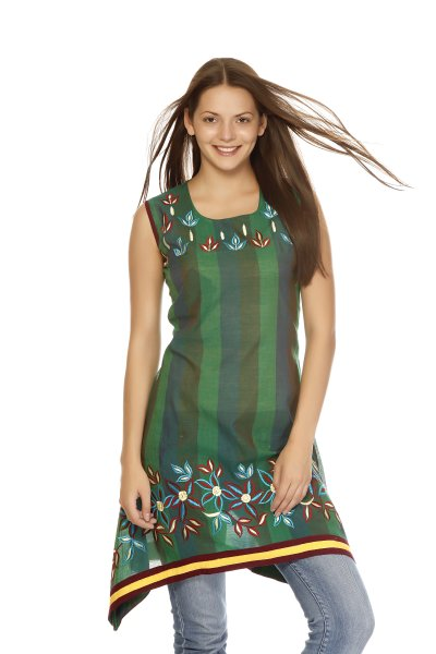 DS Green Cotton Print New Design Kurti