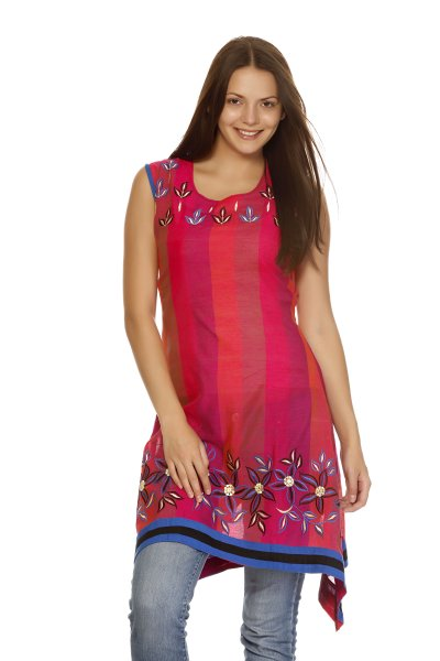 DS Red Cotton Print New Design Kurti