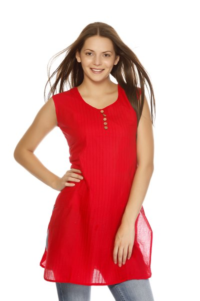 DS Red Cotton Latest Design Kurti