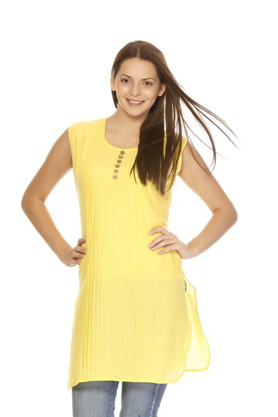 DS Yellow Cotton Latest Design Kurti