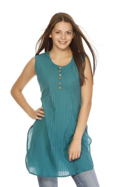 DS Green Cotton Pretty Design Kurti