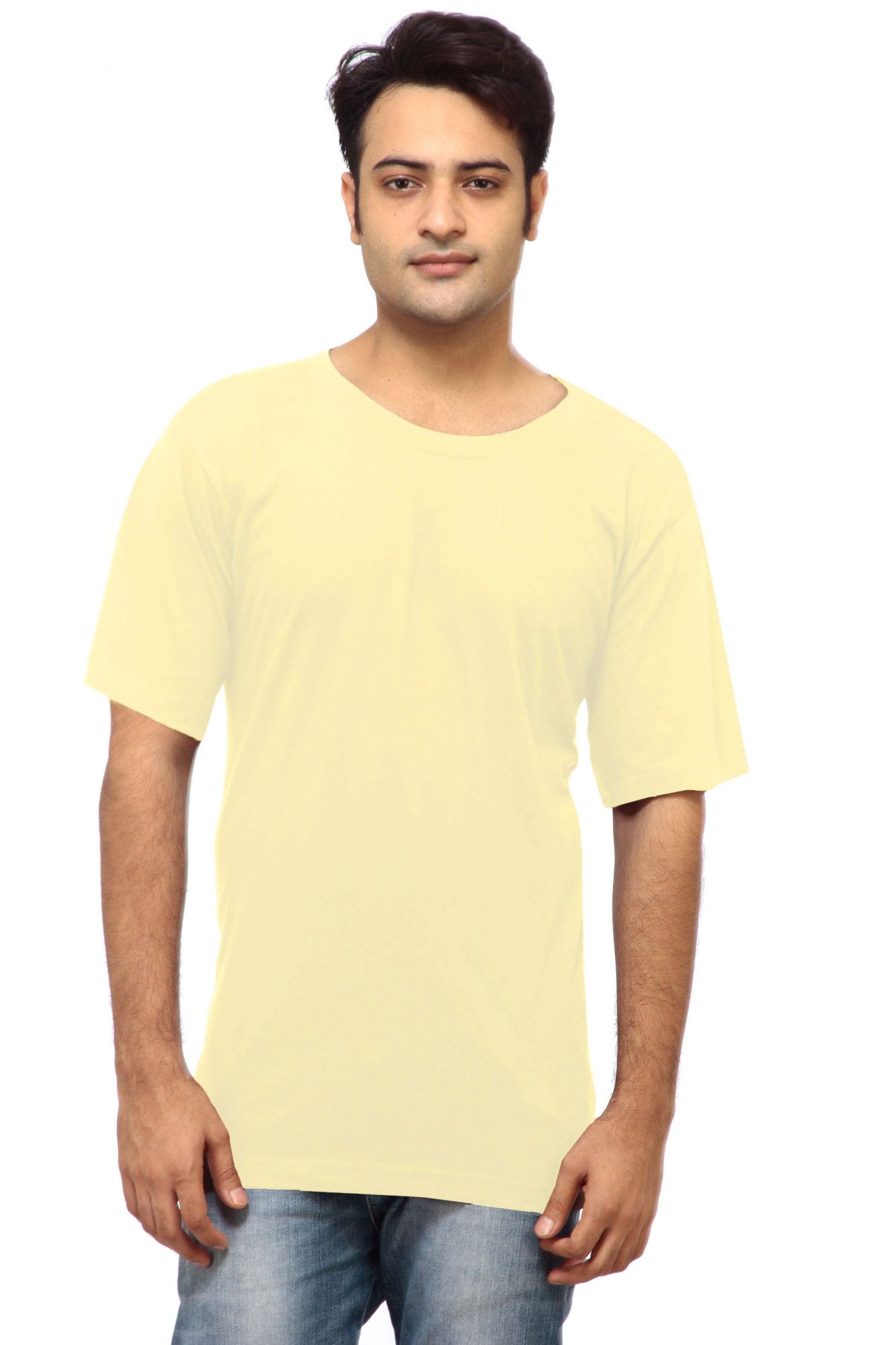 DS Cream Cotton Stylish Slim Fit Round Neck T-shirt
