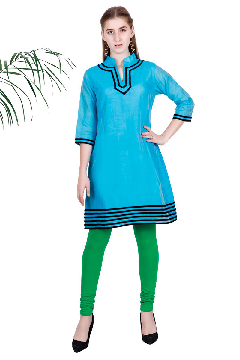 DS Blue Solid A-line Straight Latest Design Kurti