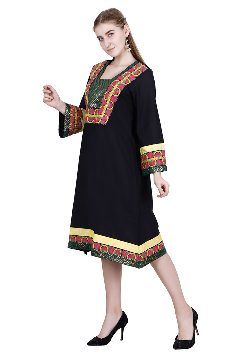 DS Black Solid Stylish Embroidered Kurta