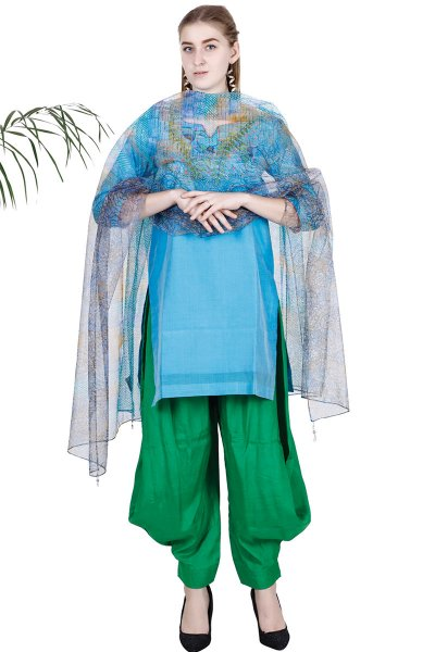 DS Blue Embroidered Fashionable Kurta With Pant & Dupatta Set