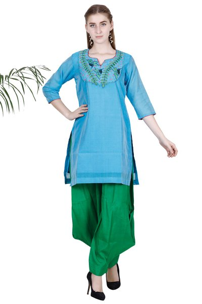DS Blue Embroidered Fashionable Kurta