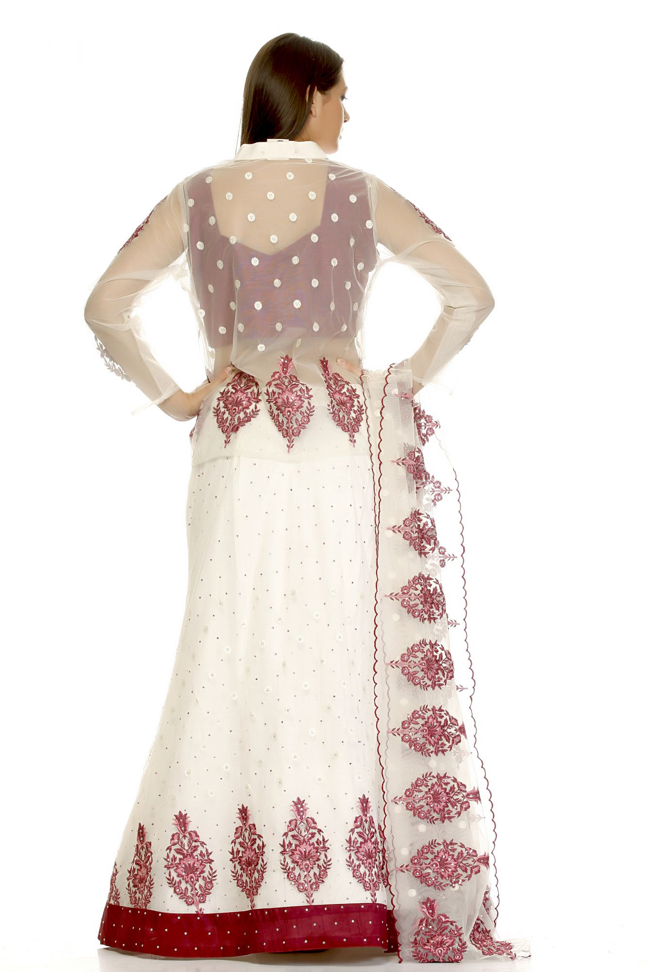 DS White and Red Gerogette Fashionable Lehenga for Women